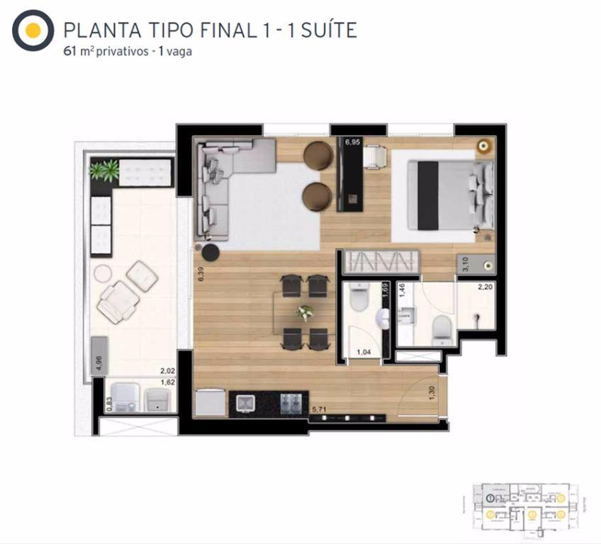 Planta Tipo Final 1 - 61 m²