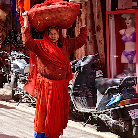 RED,RED,RED by Doug Hilson - People Street & Candids ( erotic, red, oll woman, woman, street, india )