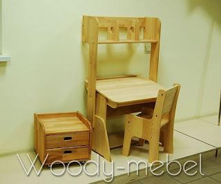 парта с пеналом, надстройкой, стулом и блоком шухляд (Школярик 1)