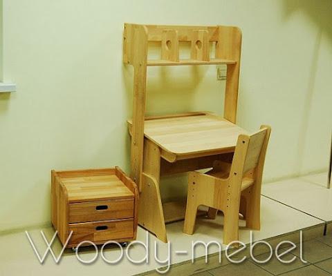 Детская мебель: парта с пеналом, надстройкой, стулом и блоком шухляд (Школярик 1)