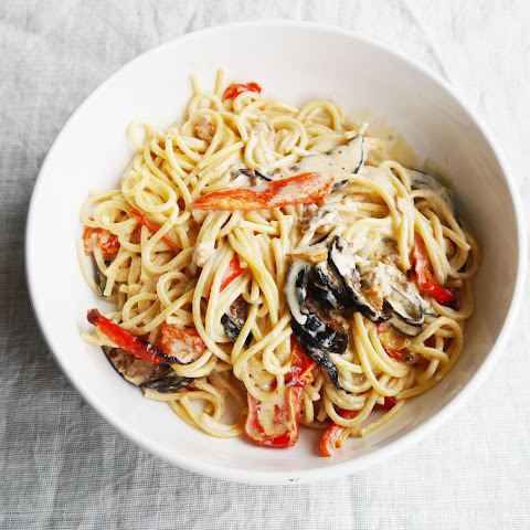 Creamy Spaghetti with Crispy Aubergine and Roasted Red Peppers
