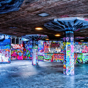 Graffitti by Josh Hilton - City,  Street & Park  Street Scenes ( thames, london, colorful, graffiti, art, stone, tagger, artwork )