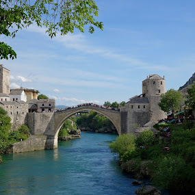 Old Bridge in Mostar by Natasa Ilic - Buildings & Architecture Bridges & Suspended Structures ( #vacation, #old, #bosnia, #bridge, #oldbridge, #mostar, #river )