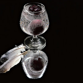 still life by Prasanta Das - Food & Drink Fruits & Vegetables ( bubbes, feathers, soda, plum )