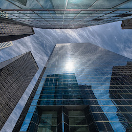 New york - looking up by Froddy Baun - Buildings & Architecture Other Exteriors ( clouds, highrise, reflection, sky, skyscrapers, new york city, new york )
