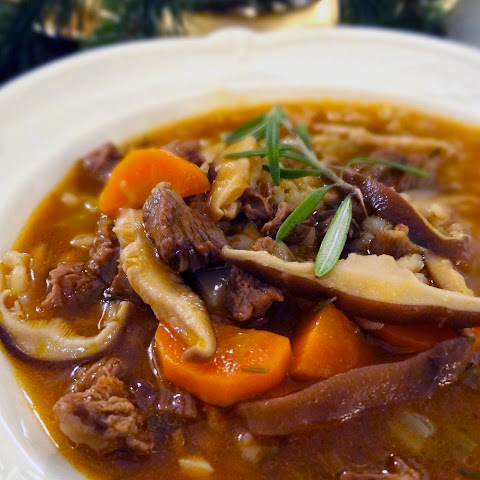 Beef, Barley & Shiitake Mushroom Soup with Port