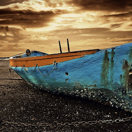 The Boat by Jomy Jose - Digital Art Things ( auckland, larkings landing, boat, beach haven, chained, new zealand )