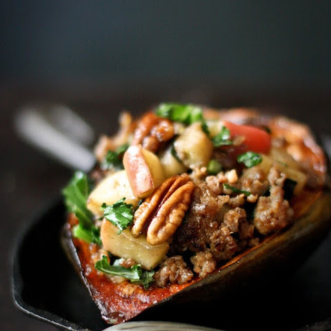 Maple Glazed Acorn Squash with Apple, Parsnip and Sage