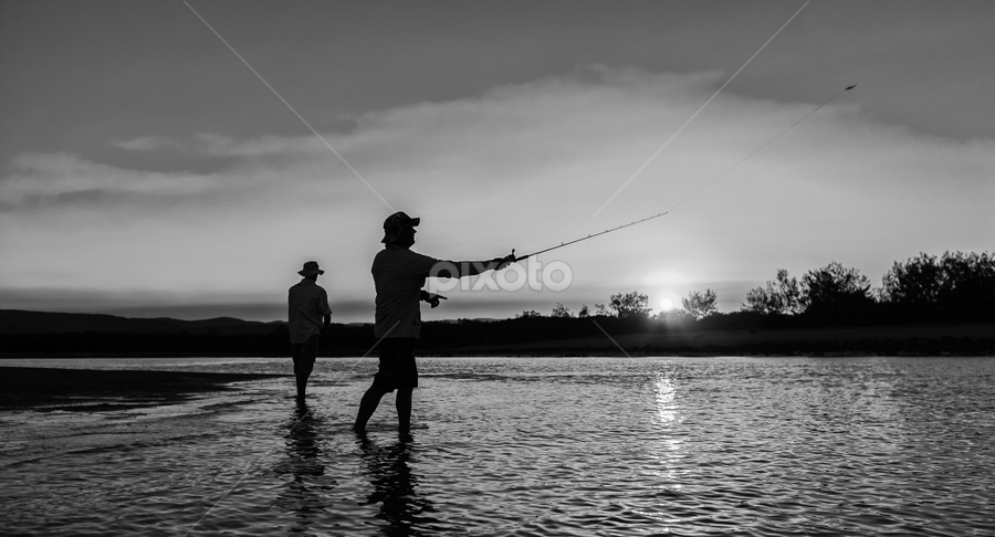 Fishing Mates by Laurie King - People Fine Art ( queensland, carmila creek, silhouette, sunset, australia, pwcbwlandscapes, fishing, carmila )