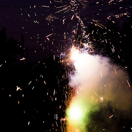 Spark by Andrea Guyton - Abstract Fire & Fireworks ( fourth of july, colorful, explosion, fireworks, sparks )