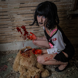 Oops... by Lucy Black - People Portraits of Women ( creative, teddy bear, gore, death, alternative, blood )