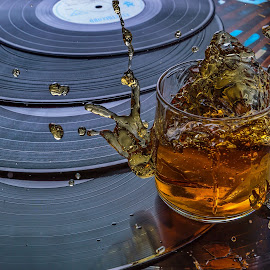Music & Jack by Ovidiu Sova - Food & Drink Alcohol & Drinks ( record, ice cubes, whiskey, splash photography, alcohol, vinyl, glass )