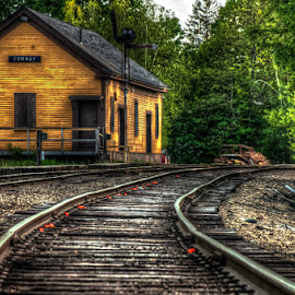Old Conway Train Station by Chris Cavallo - Transportation Railway Tracks ( train tracks, train station, scenery, trains, new hampshire,  )