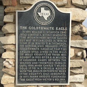 "The Goldthwaite Eagle In 1885, William H. Thompson (1842-1896) started a weekly newspapers, ""The Mountaineer,"" which closed but was re-established in 1894. He sold it in 1896 to R.M. Thompson, his ..."