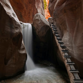 Kannarra Creek Falls by Dale Kesel - Landscapes Caves & Formations ( water, slot canyon, utah, waterscape, waterfall, southwest, sandstone, canyon, remote, cave, kannarra, slow shutter,  )