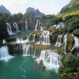 Cascading Waterfalls by Eben Melanie Olivier - Landscapes Waterscapes ( waterfalls, nature, waterfall, vietnam, cascading )