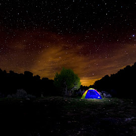 Night Tent by Jeff Harmon - Landscapes Starscapes ( night photography, utah, stars, outdoors, tent, night, landscape, starscape, nightscape )