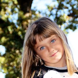 In the Trees by Luanne Bullard Everden - Babies & Children Child Portraits ( girls, sky, blue, trees, children, eyes )