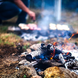 BBQ by Roberto Di Patrizi - Food & Drink Meats & Cheeses ( sausage, embers, meat, bbq, barbecue, fire, flame,  )
