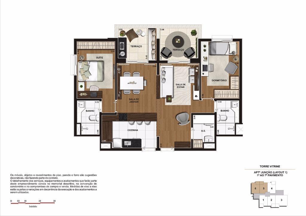 Planta 90 m² Junção Finais 5 e 6 - Do 1 ao 7 Pavimento  (Torre Vitrine)