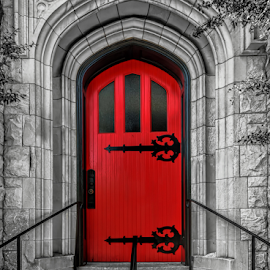 Faithful Through The Ages by Ann Allison - Buildings & Architecture Places of Worship ( red door, churchh architecture, stone architecture, church door, focal color )