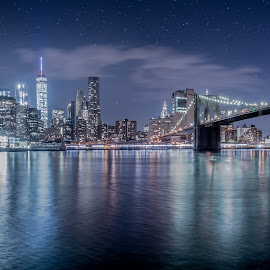 City under Stars by Dave Kaplan - City,  Street & Park  Skylines ( skyline, stars, night, bridge, new york, nyc, panorama, river, brooklyn )