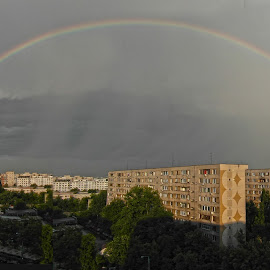 Rainbow in town by Staicu Gheorghe - City,  Street & Park  Vistas (  )