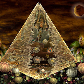 Alien Pyramid by Peggi Wolfe - Illustration Sci Fi & Fantasy ( fantasy, abstract, wolfepaw, artifact, moon, sky, apophysis, pyramid, collage, sci-fi, alien, fractal, digital )