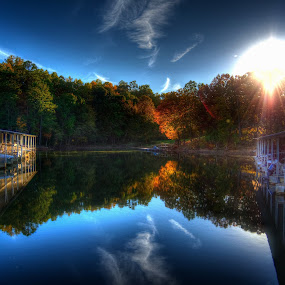 Fall Sunset by the Lake by Randell Whitworth - Landscapes Sunsets & Sunrises ( hdr, sunset, fall, lake )