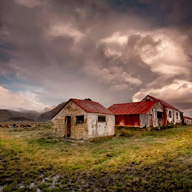 Björnskot  by Þorsteinn H. Ingibergsson - Buildings & Architecture Decaying & Abandoned ( clouds, iceland, old farm, sky, nature, structor, landscape, abandoned )