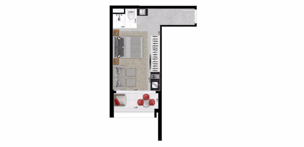 Planta Studio 26 m²