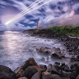 incoming by Kelley Hurwitz Ahr - Landscapes Waterscapes ( hawaii night tour, kauai, beach, hawaii )