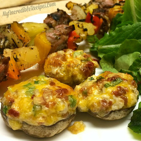 Cheese Bacon BOMB Stuffed Mushrooms!