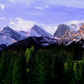 CANADIAN ROCKIES AT ENTRANCE TO BANFF by Gerry Slabaugh - Landscapes Mountains & Hills ( hills, mountains, snowcapped, canadian rockies at banff, banff national park, panorama )