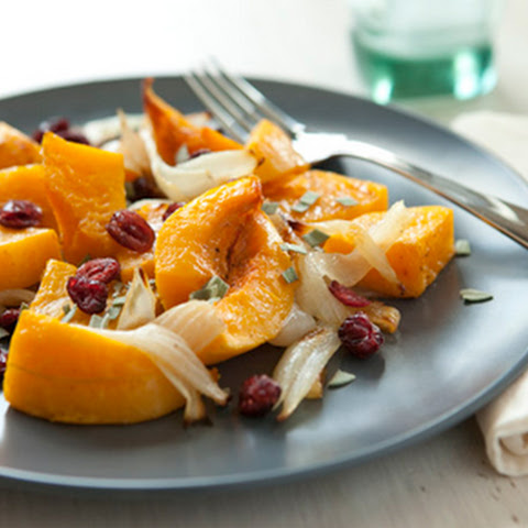 Roasted Butternut Squash with Sage and Cranberries