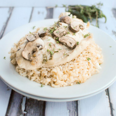 Baked Red Snapper with Mushroom Thyme Sauce
