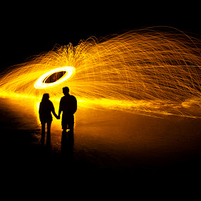 Show in the River by Shane Vandenberg - Abstract Light Painting ( Steel Wool, Fire, Sparks )
