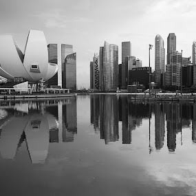 Reflection of Marina Bay Sands, Singapore in black and white by Macbrian Mun - Buildings & Architecture Office Buildings & Hotels ( skyline, beach, architecture, travel, cityscape, city, sky, marina, light, structure, twilight, tourism, waterscapes, destination, landmark, tourist, vacation, bay, outdoors, scene, view, waterfront, calm, reflection, ocean, landscape, coastline, coast, sun, business, singapore, sands, skyscraper, asia, resort, district, water, sand, building, beautiful, sea, urban, tower, blue, sunset, cloud, night, hotel, river )