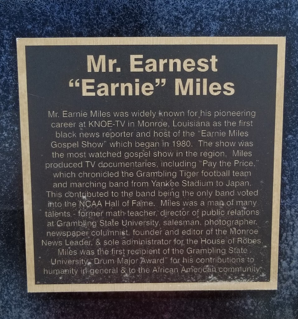 Mr. Earnie Miles was widely known for his pioneering career at KNOE-TV in Monroe, Louisiana as the first black news reporter and host of the