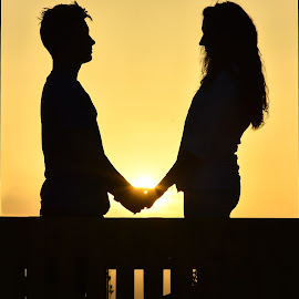 sunset in 2 by Simion Tiberiu Stefan - People Couples ( love, two, sunset, yelow, couple, black )