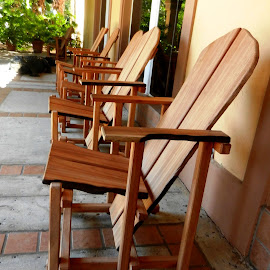 Wooden Chairs by Kathy Rose Willis - Artistic Objects Furniture ( wooden, chairs, outdoor, brown, perspective, furniture, multiple,  )