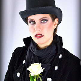 by Alexandra Tsalikis - Public Holidays Halloween ( hat black, white rose, elegance, lady,  )
