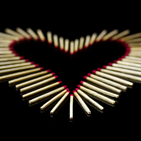 heart to burn by SumPics Photography - Artistic Objects Other Objects ( black background, matches, wooden, heart, red, wooden matches, matchsticks, valentine )