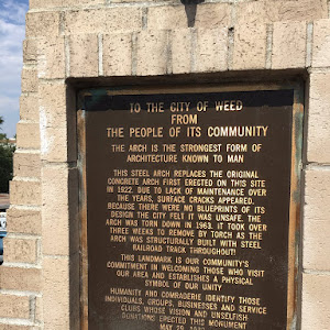 TO THE CITY OF WEED FROM THE PEOPLE OF ITS COMMUNITY THE ARCH IS THE STRONGEST FORM OF ARCHITECTURE KNOWN TO MAN THIS STEEL ARCH REPLACES THE ORIGINAL CONCRETE ARCH FIRST ERECTED ON THIS SITE IN ...