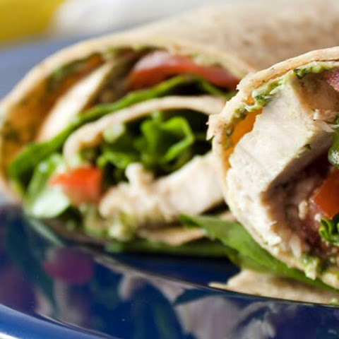 Low-Fat Pesto and Chicken Wrap