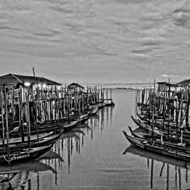 Parked for the night by Azizan  Ishak - Black & White Landscapes ( johor, boats, malaysia, travel, landscape )