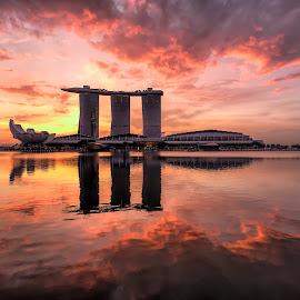 by Gordon Koh - City,  Street & Park  Vistas ( sunrise, reflection, city, asia, city park, clouds, building, singapore, modern, urban, symmetry, marina bay sands, cityscape, hotel, modern city, movement, esplanade, park, architecture, mbs )