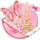 APK App Pink Butterfly Eiffel Kitty Theme for BB, BlackBerry