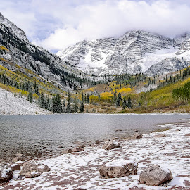 Maroon Bells Fall #1 by Frank Barnitz - Landscapes Mountains & Hills ( clouds, mountains, nature, fall colors, autumn, horizontal, outdoors, snow, colorado, trees, lake, rocks )