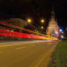 Night lines by Jiri Cetkovsky - City,  Street & Park  Night ( midnight, red church, freeland, line, lines, midnight lights, tramway )
